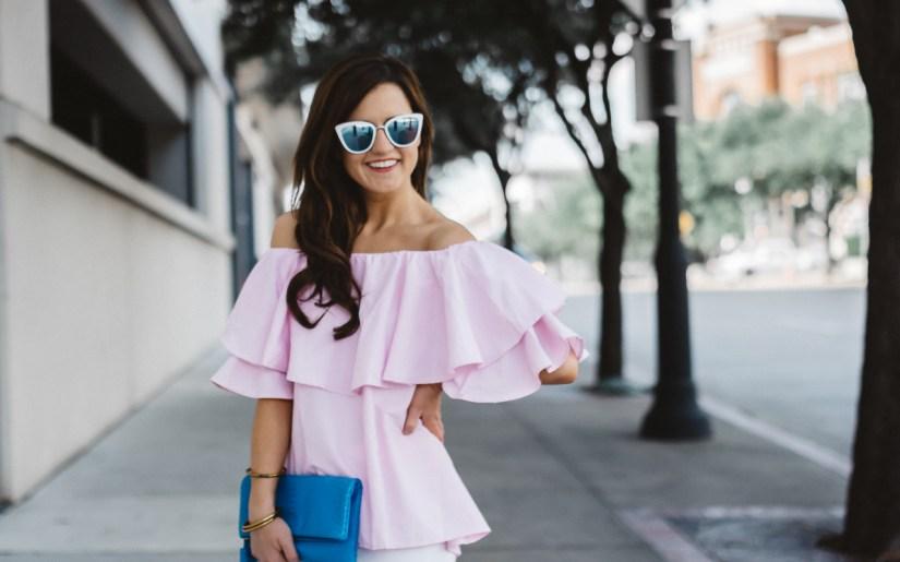 blue and white sunglasses