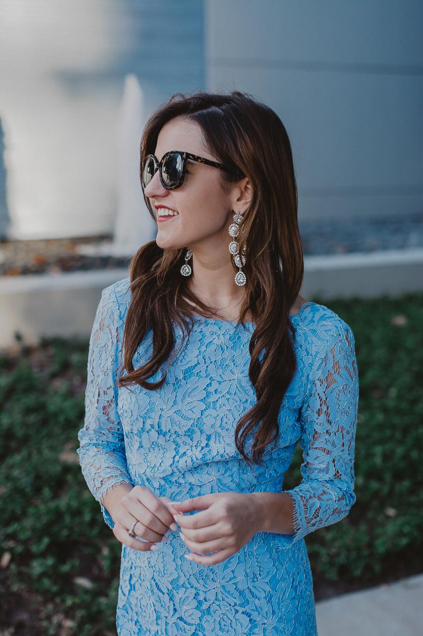 blue lace three quarter sleeve dress