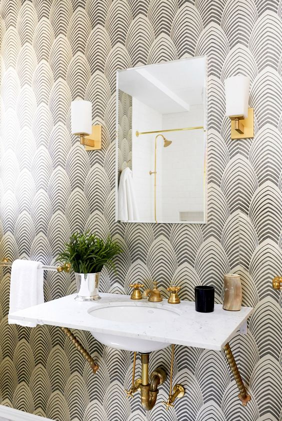 grey and white wallpaper gold accents