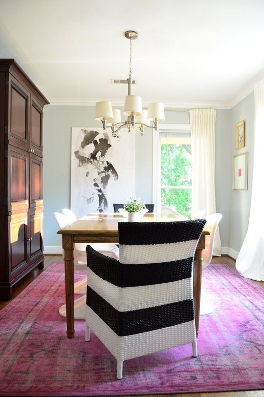 Modern Dining Room Pink Rug