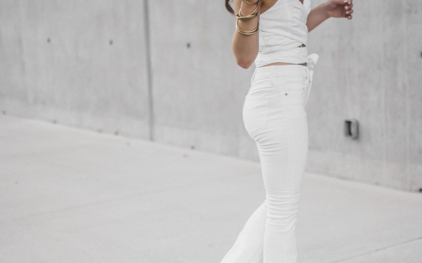 White Crop Top White Flared Jeans (23 of 23)