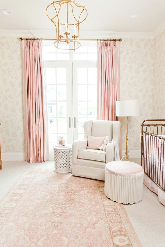 Blush Pink Nursery Oriental Rug