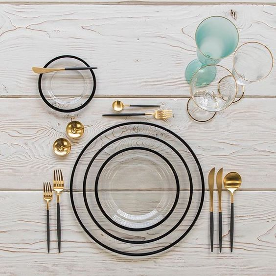 mixed metal flatware gold and black