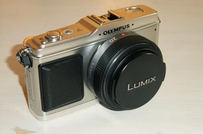 Olympus E-P1 camera sporting a Panasonic 20mm f1.7 lens. Are the two companies about to join in a similar fashion?