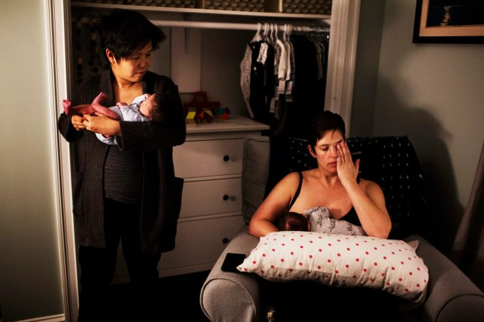 Emily rubbed sleep out of her eyes while feeding Reid, as Kate held Eddie during a late night feeding. The two shared the responsibilities of late night feedings, but because Emily generally produced more breast milk than Kate, she often had to feed both babies while Kate pumped her milk.