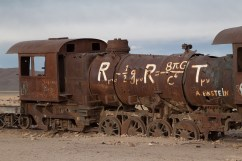 Abanonded steam engine in Uyuni train cemetery