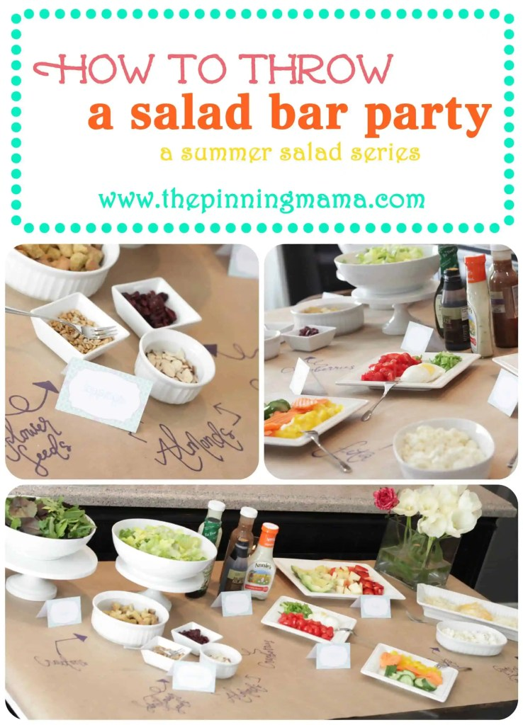 summer salad series, free labels, free place cards, salad bar party, salad ideas, summer salads, group parties