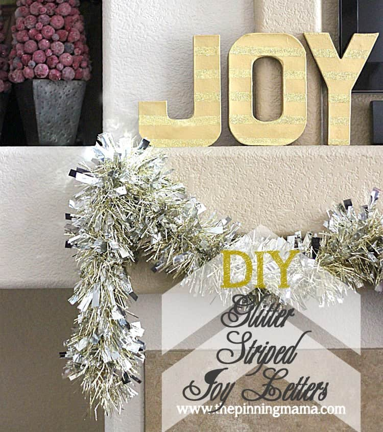 {Easy Christmas Decor} DIY Glitter Striped Joy Letters from www.thepinningmama.com