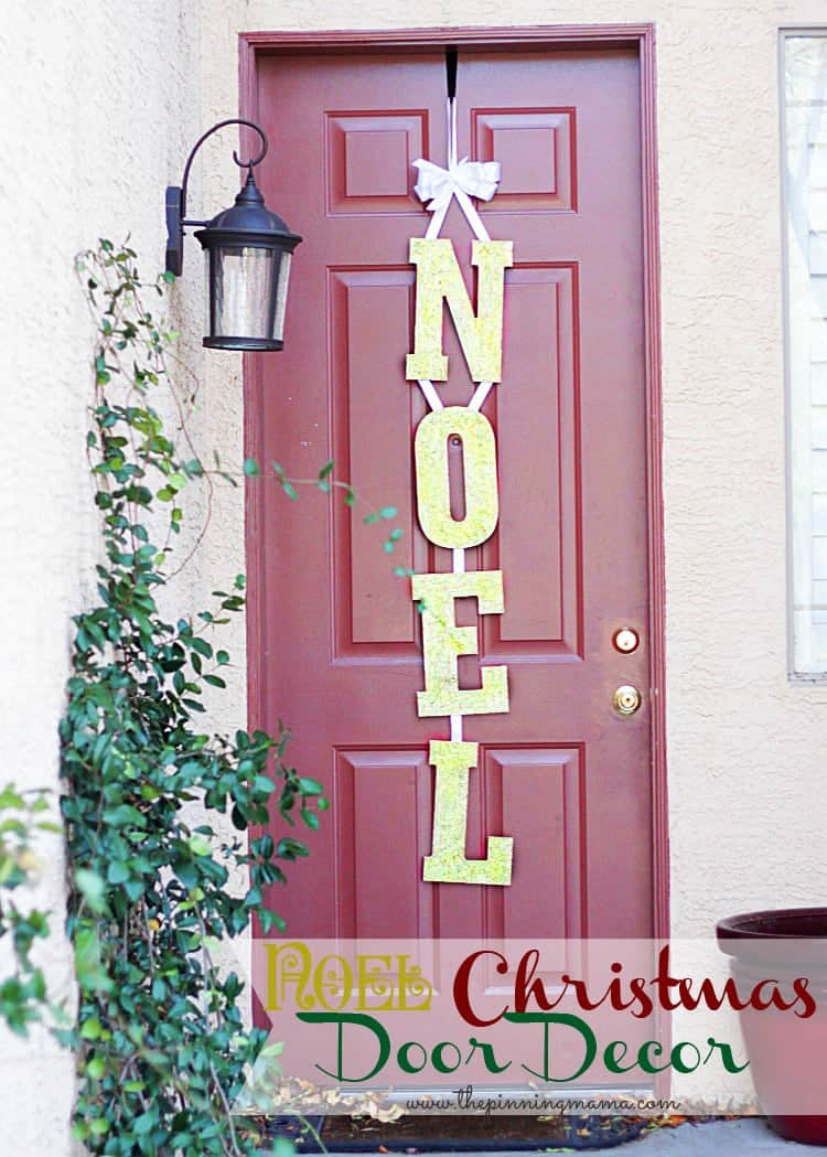 Noel Christmas Door Decor by www.thepinningmama.com