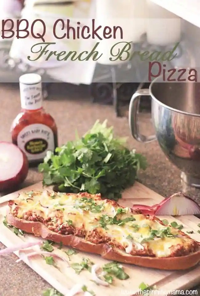 BBQ Chicken French Bread Pizza- Prepped and ready in 20 minutes!