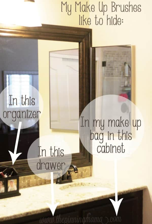 Make up brushes are always hard to find- organize them right inside your medicine cabinet with this trick in about 5 minutes!
