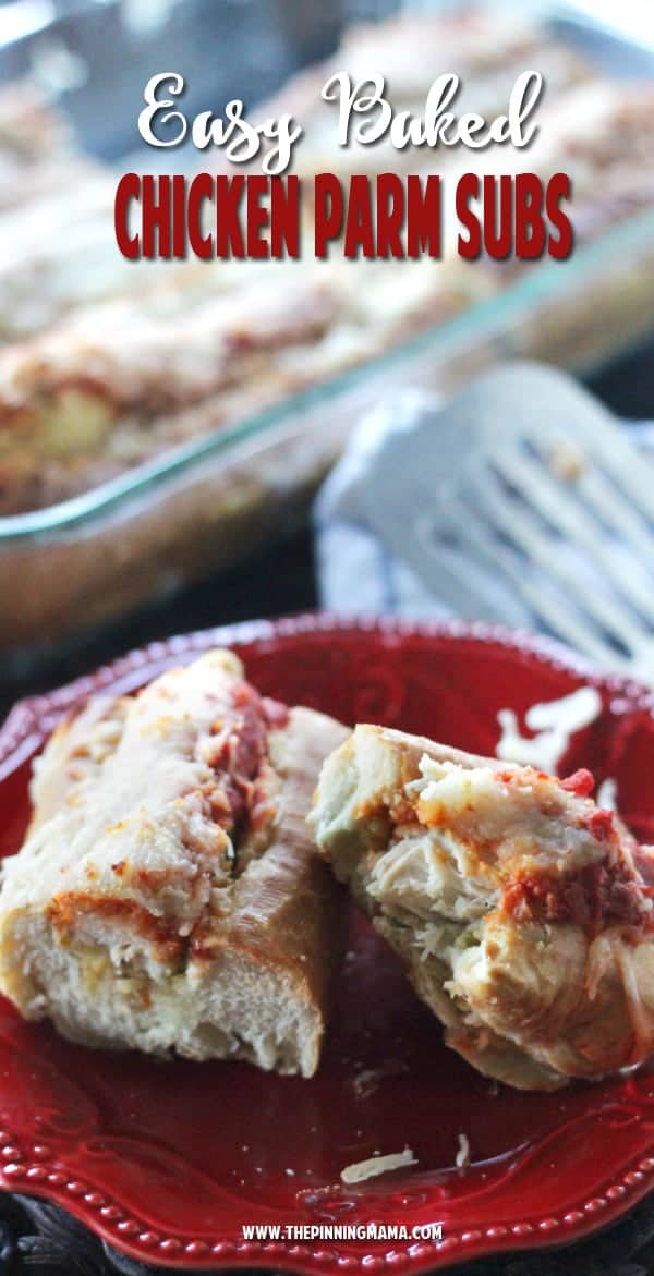 Easy Baked Chicken Parm Subs recipe - So easy to feed a crowd! Perfect for a party or tailgate since it only takes a few minutes to prepare enough to feed a crowd!! Chicken and lots of melty cheese make these my favorite appetizer!