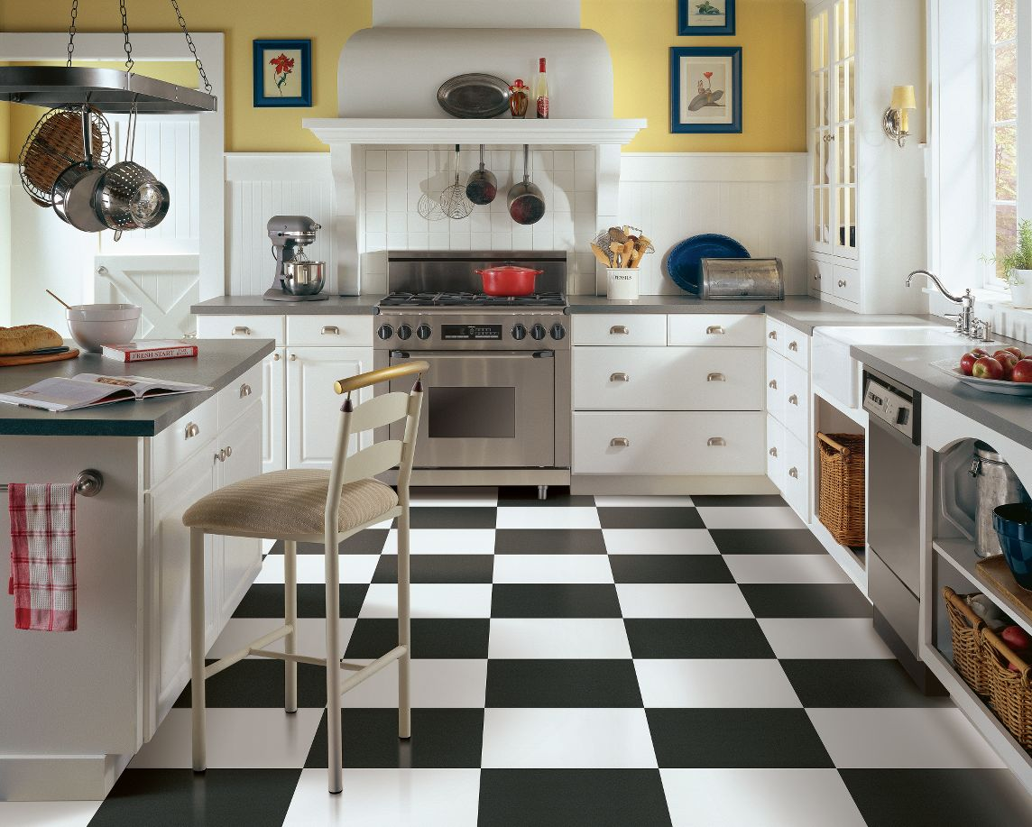 tips to match your kitchen floor for your lifestyle vinyl kitchen flooring These checkerboard vinyl tiles in a classic kitchen design make a great design statement are affordable and will stand up well to years of use if well