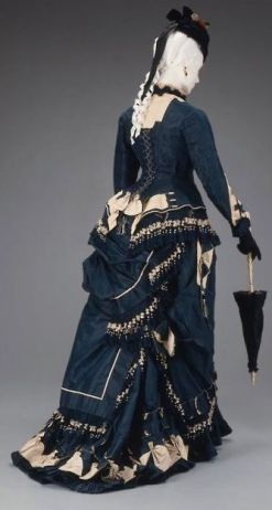 blue and ivory dress