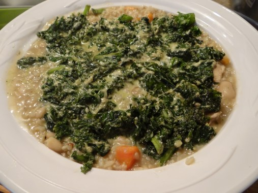 Add your creamy kale to the top of your casserole.