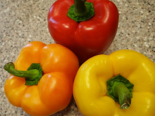 A lot of people like to use green bell peppers for this recipe, but I am not a fan of the green, I prefer the sweeter red, orange and yellow.  This is total personal preference.  If you want to go the traditional route, go ahead and use green.