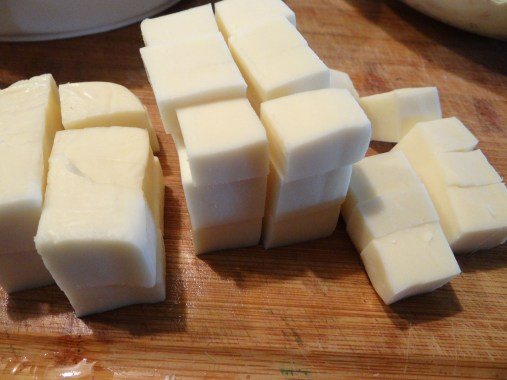 For this recipe, you can dice up about half the block.