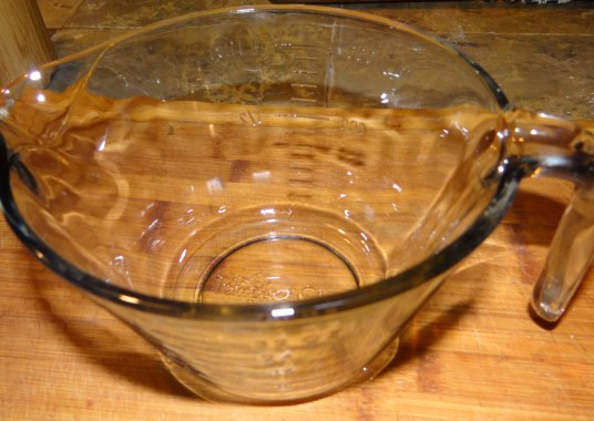 Start with a clean bowl.  This one is the Pampered Chef Small Batter Bowl, I love it because it's like a giant measuring cup with a spout for easy pouring (and its oven and microwave safe!).