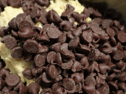 Add in semi-sweet chocolate chips and stir by hand.
