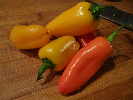 These are sweet peppers, the come in a big bag at my grocery store.  If you can't find these, you can always use a red, orange or yellow bell pepper.
