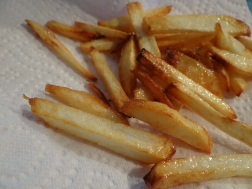 Once fries come to this color, remove and place on some paper to drain. Lightly salt with kosher salt right away. (Do not over do it with the salt, remember the cod will be salty on its own.)