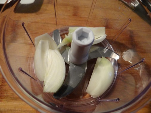 Place it in the food processor... I am using the Pampered Chef Manual Food Processor.