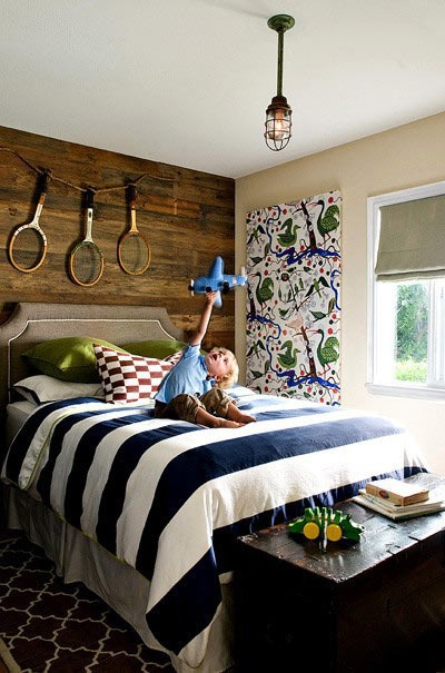 Boys Room with striped bedding
