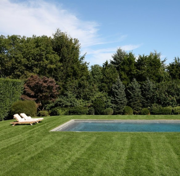 Grass around the pool via Chic Coastal Living