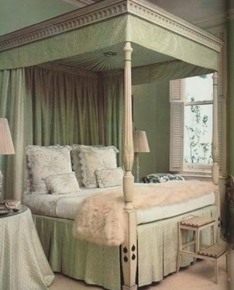 Lee Radziwell bedroom in green