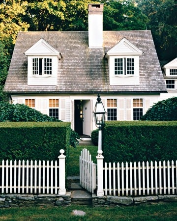 White picket fence and hedge via pinterest