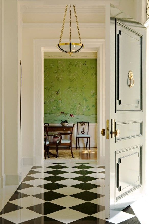 green walpaper dining and entry