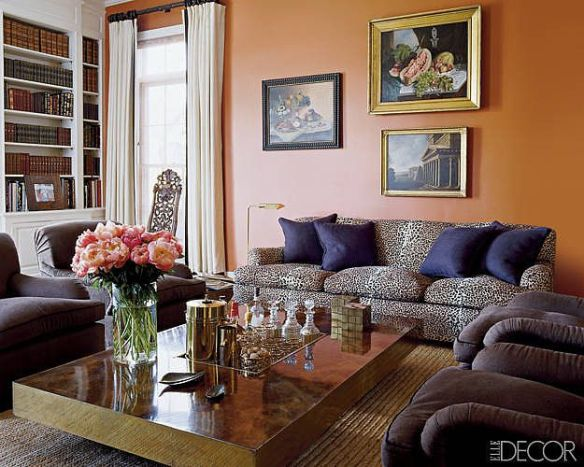 Aerin Lauder Orange Room Via Elle Decor