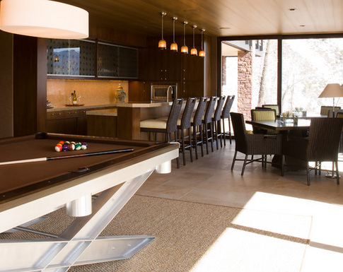 Basement Kitchen and Game Room in Aspen Home