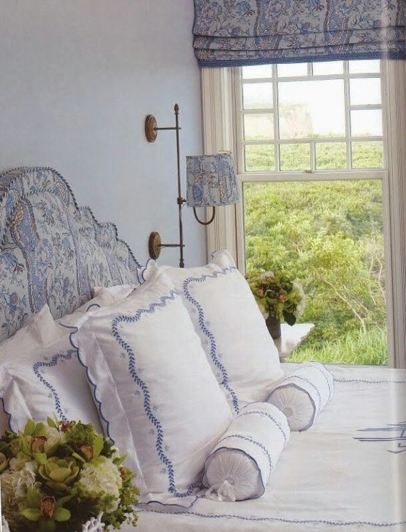 Blue and WHite bedroom by Alexa Hampton via Pinterest