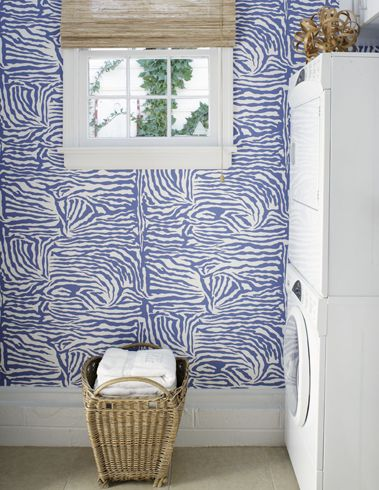 Blue and White Wallpapered Laundry Room