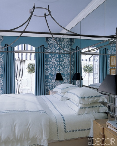 Blue and White bedroom by Miles Redd via Elle Decor