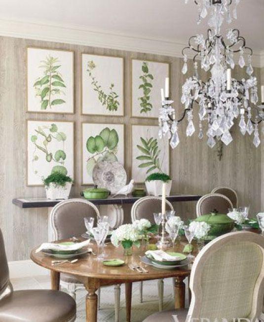 Botanical Prints in a dining room by Richard Hallberg via Veranda