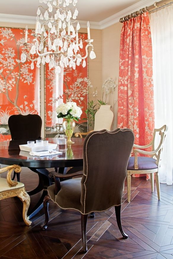 Dining room with  Orange Gracie Panels by Jamie Herzlinger