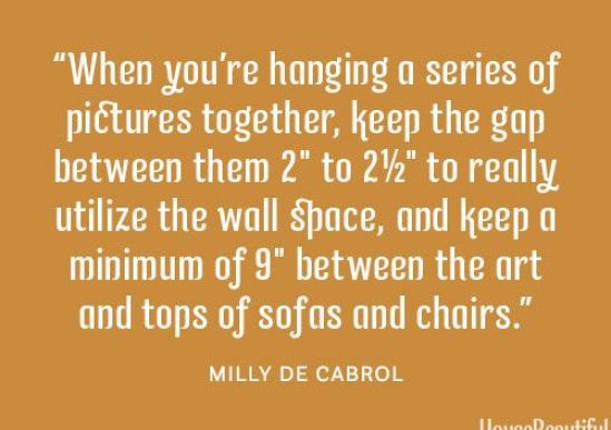 Gallery Wall Advice from Milly De Cabrol via HB