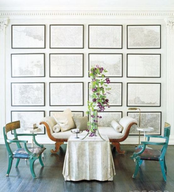 Gallery Wall of Maps via Elle Decor