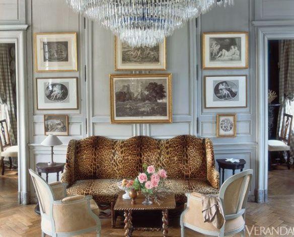 Gallery Wall with Leopard Sofa by Charles Spada via Vernada