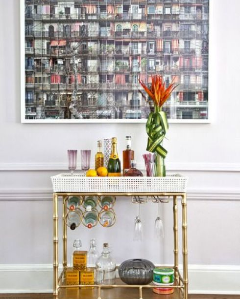 Gold Bamboo Bar Cart with Removable Tray via Shelterness