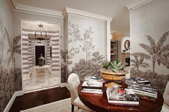 Gracie Wallpaper in the Ritz Carlton Condo designed by Laura Hunt via The Glam Pad