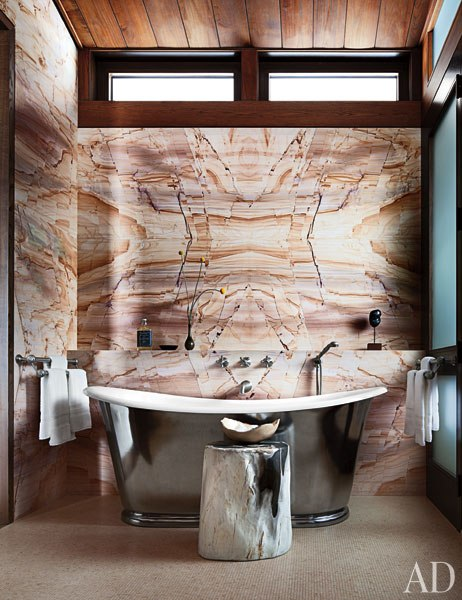 Incredible Marble Wall in Aspen Home designed by Studio Sofield