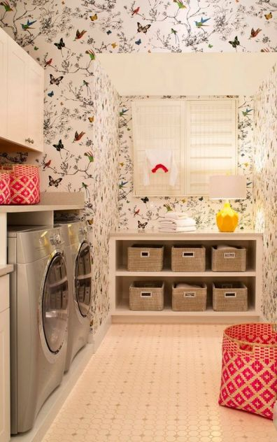Laundry Room by Cheryl Scarlet of Design Transformations Schumacher Wallpaper