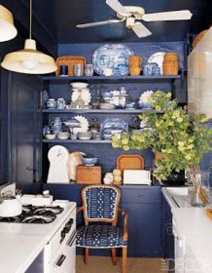 Navy Kitchen by T. Keller Donovan on Elle Decor
