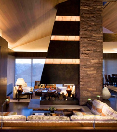 Open FIreplace in the Main Room in Aspen Home