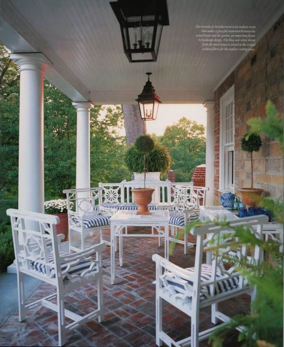 Patio with white chairs