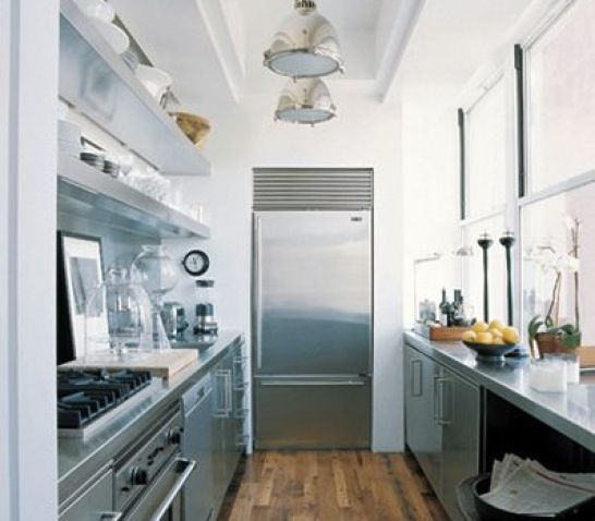 Steel Galley Kitchen with Wood Floors