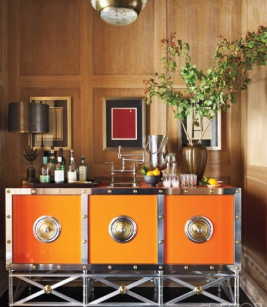 Tangerine and Chrome Bar by Steben Gambrel via Elle Decor